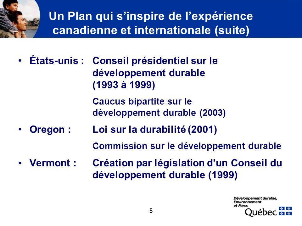 5 Un Plan qui sinspire de lexpérience canadienne et internationale (suite) États-unis :Conseil présidentiel sur le développement durable (1993 à 1999)