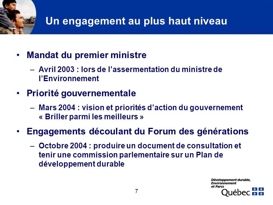 7 Un engagement au plus haut niveau Mandat du premier ministre –Avril 2003 : lors de lassermentation du ministre de lEnvironnement Priorité gouverneme