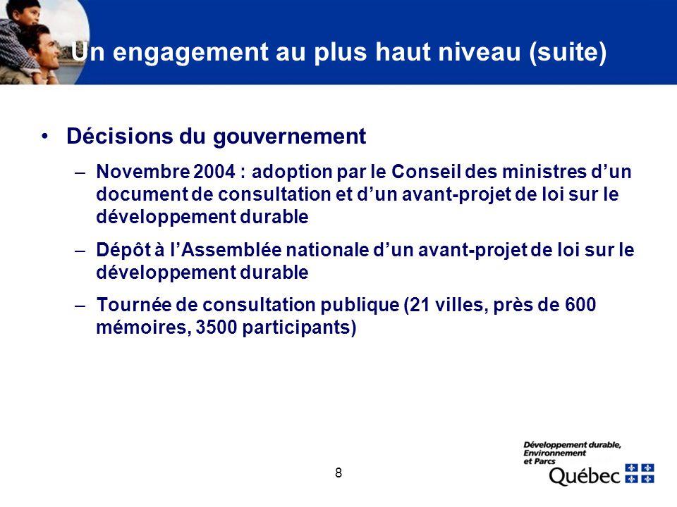 8 Un engagement au plus haut niveau (suite) Décisions du gouvernement –Novembre 2004 : adoption par le Conseil des ministres dun document de consultat
