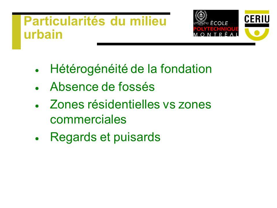 Particularités du milieu urbain Hétérogénéité de la fondation Absence de fossés Zones résidentielles vs zones commerciales Regards et puisards