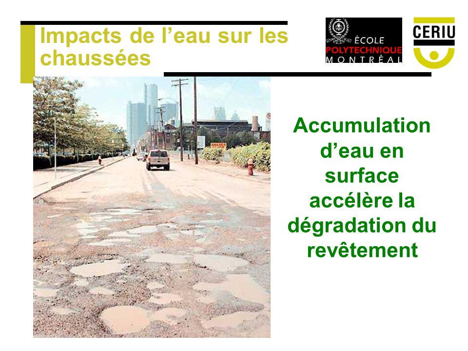 Impacts de leau sur les chaussées Accumulation deau en surface accélère la dégradation du revêtement