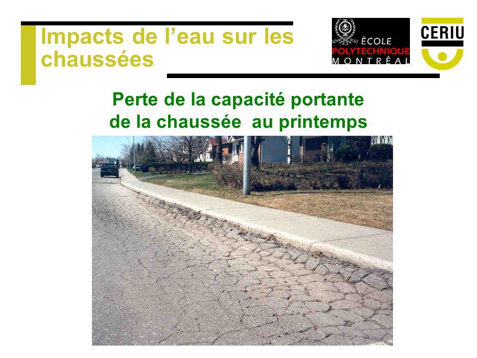 Impacts de leau sur les chaussées Perte de la capacité portante de la chaussée au printemps