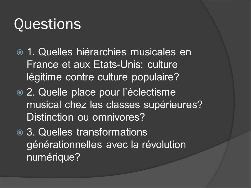 Questions 1. Quelles hiérarchies musicales en France et aux Etats-Unis: culture légitime contre culture populaire? 2. Quelle place pour léclectisme mu