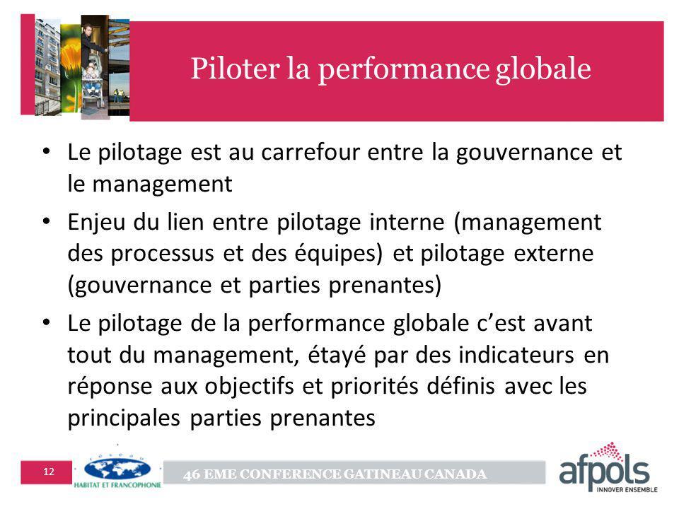 46 EME CONFERENCE GATINEAU CANADA 12 Piloter la performance globale Le pilotage est au carrefour entre la gouvernance et le management Enjeu du lien entre pilotage interne (management des processus et des équipes) et pilotage externe (gouvernance et parties prenantes) Le pilotage de la performance globale cest avant tout du management, étayé par des indicateurs en réponse aux objectifs et priorités définis avec les principales parties prenantes