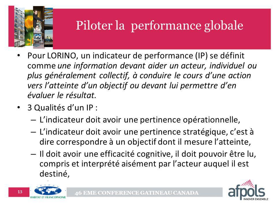 46 EME CONFERENCE GATINEAU CANADA 13 Piloter la performance globale Pour LORINO, un indicateur de performance (IP) se définit comme une information de