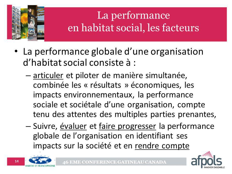 46 EME CONFERENCE GATINEAU CANADA 14 La performance en habitat social, les facteurs La performance globale dune organisation dhabitat social consiste
