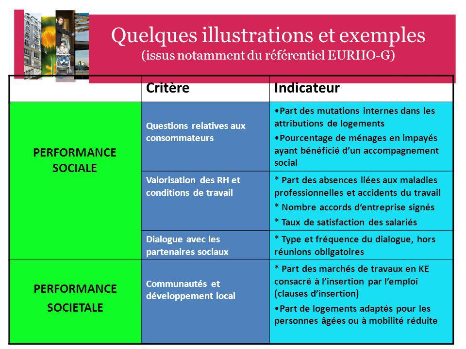 46 EME CONFERENCE GATINEAU CANADA 17 Quelques illustrations et exemples (issus notamment du référentiel EURHO-G) CritèreIndicateur PERFORMANCE SOCIALE