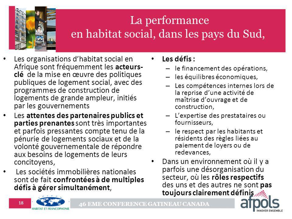 46 EME CONFERENCE GATINEAU CANADA 18 La performance en habitat social, dans les pays du Sud, Les organisations dhabitat social en Afrique sont fréquem