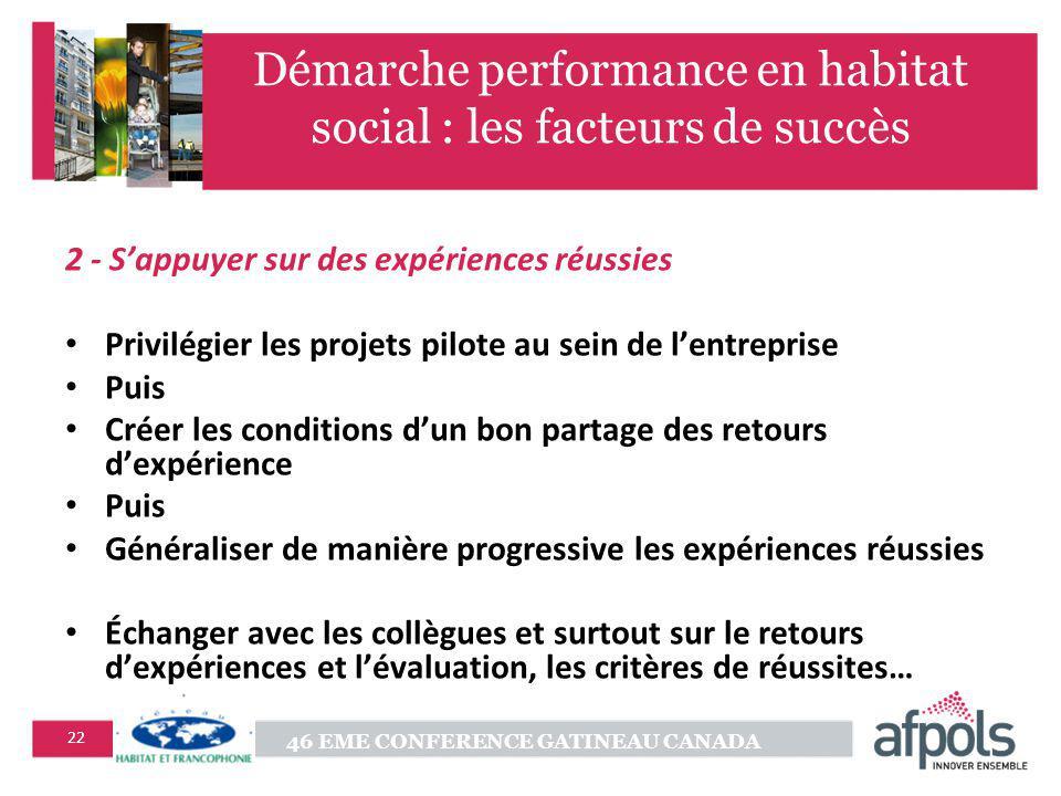 46 EME CONFERENCE GATINEAU CANADA 22 Démarche performance en habitat social : les facteurs de succès 2 - Sappuyer sur des expériences réussies Privilé