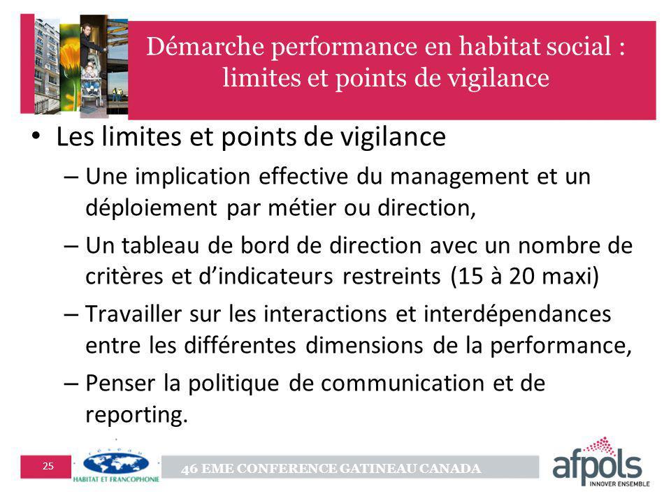 46 EME CONFERENCE GATINEAU CANADA 25 Démarche performance en habitat social : limites et points de vigilance Les limites et points de vigilance – Une