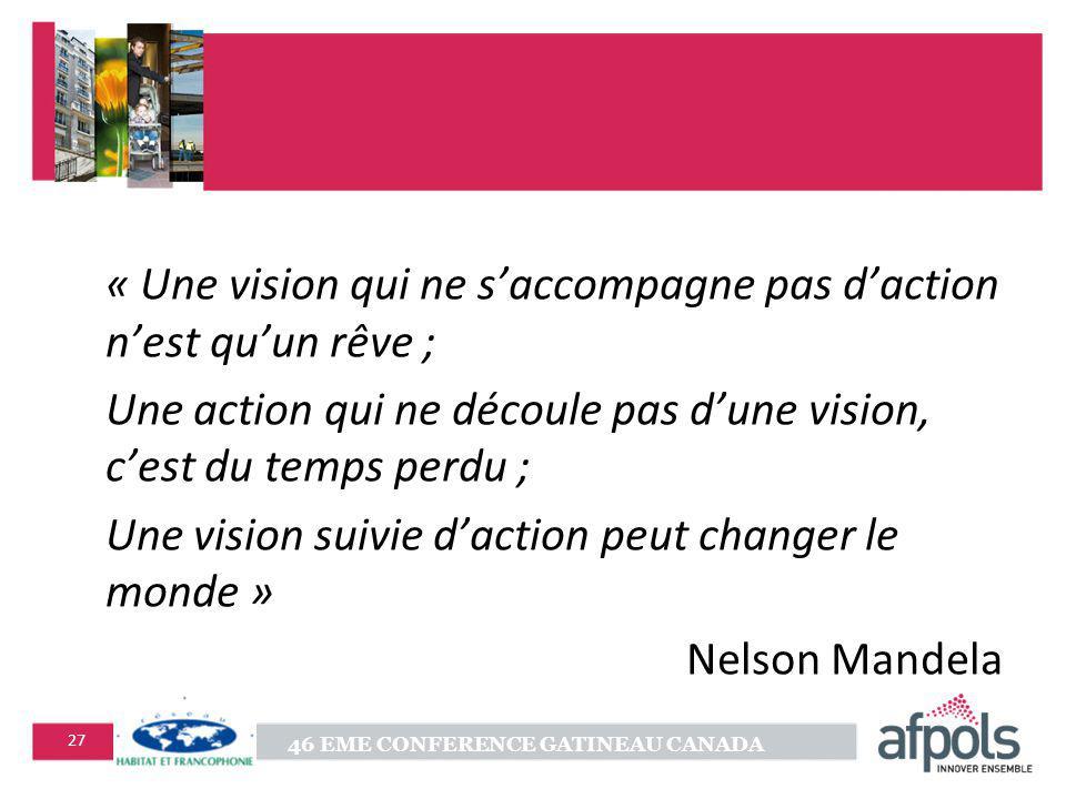 46 EME CONFERENCE GATINEAU CANADA 27 « Une vision qui ne saccompagne pas daction nest quun rêve ; Une action qui ne découle pas dune vision, cest du temps perdu ; Une vision suivie daction peut changer le monde » Nelson Mandela