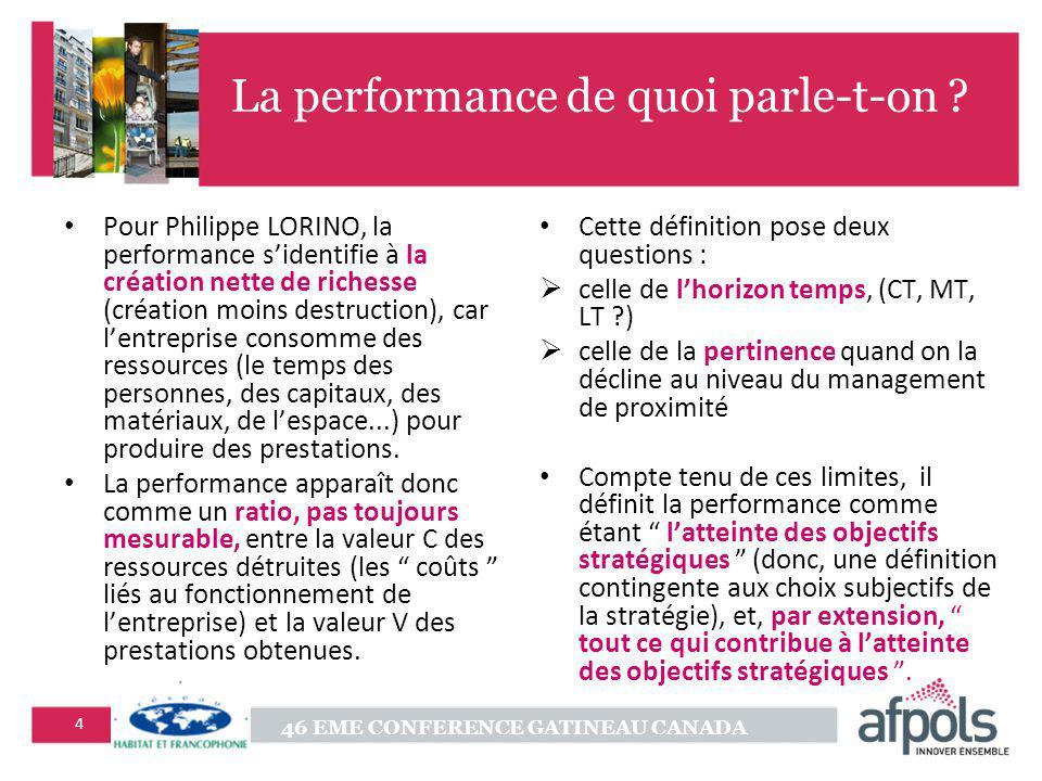 46 EME CONFERENCE GATINEAU CANADA 4 La performance de quoi parle-t-on .