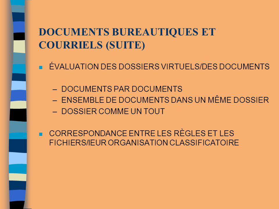 DOCUMENTS BUREAUTIQUES ET COURRIELS (SUITE) n ÉVALUATION DES DOSSIERS VIRTUELS/DES DOCUMENTS –DOCUMENTS PAR DOCUMENTS –ENSEMBLE DE DOCUMENTS DANS UN M