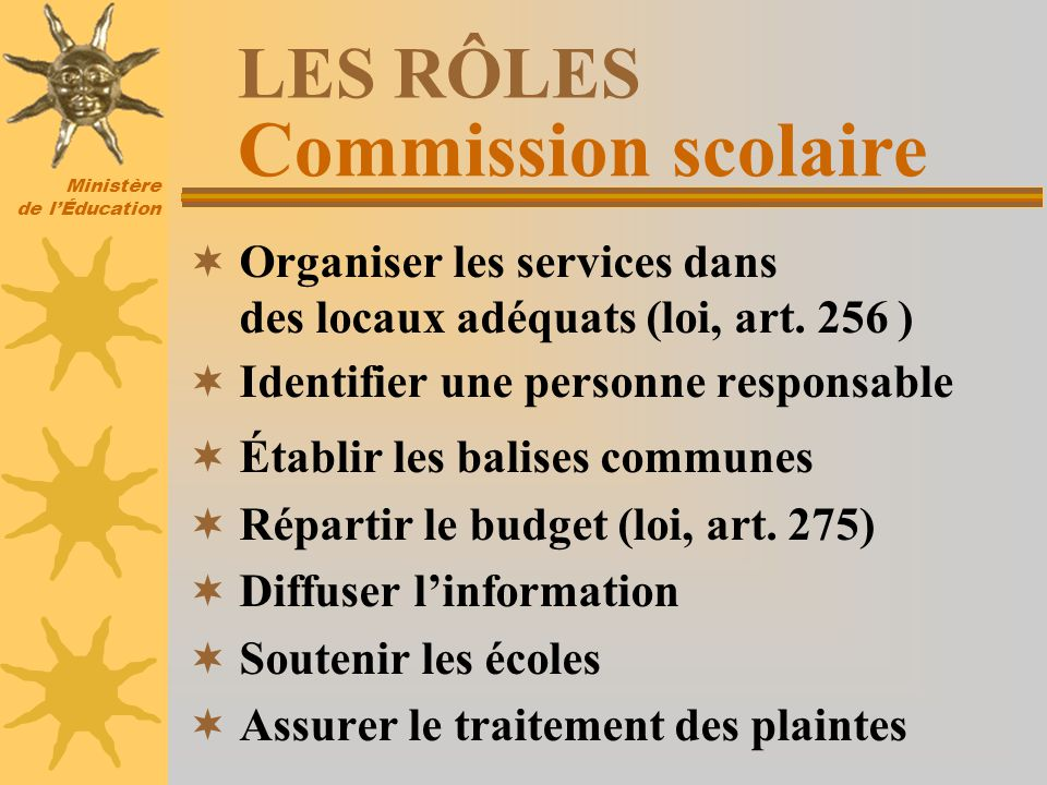 Ministère de lÉducation LES RÔLES Organiser les services dans des locaux adéquats (loi, art. 256 ) Identifier une personne responsable Établir les bal