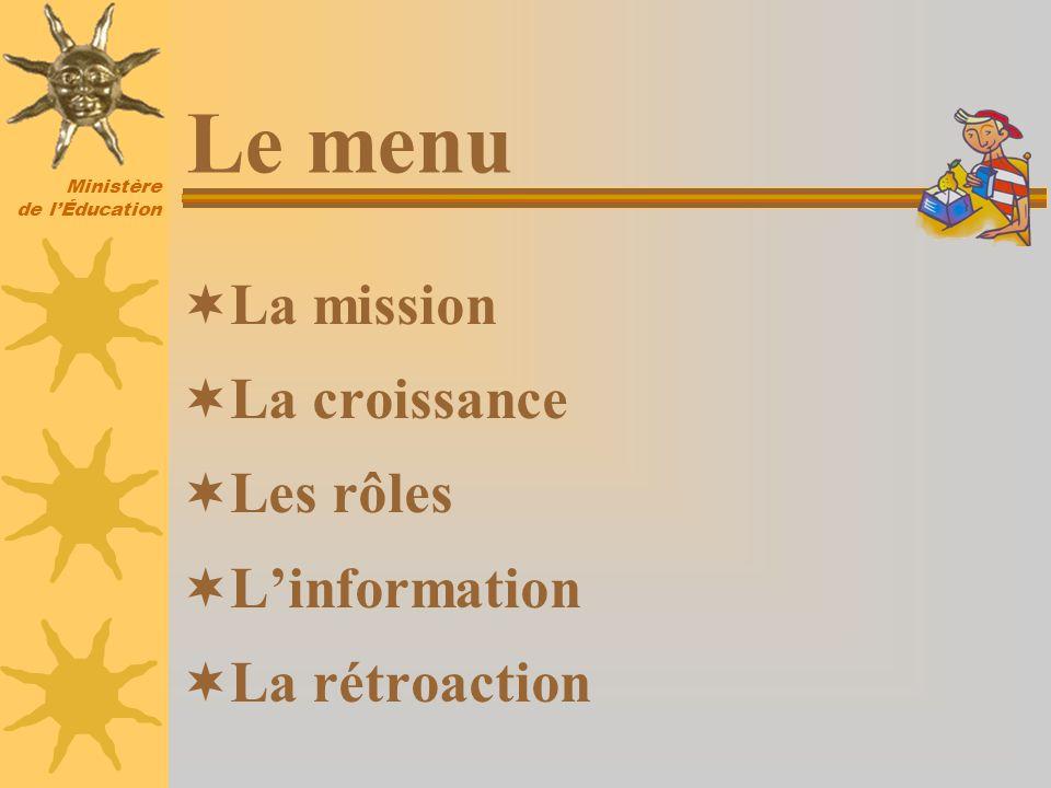 Ministère de lÉducation Le menu La mission La croissance Les rôles Linformation La rétroaction