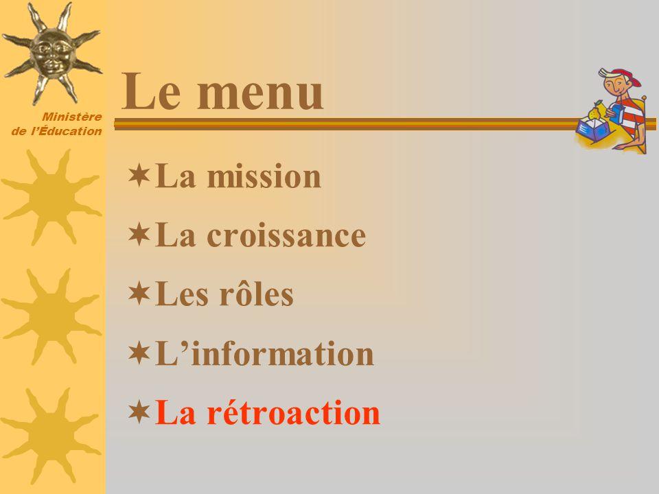 Ministère de lÉducation La mission La croissance Les rôles Linformation La rétroaction Le menu