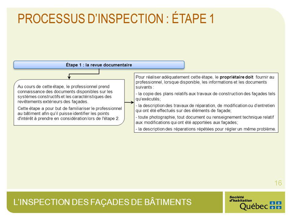 LINSPECTION DES FAÇADES DE BÂTIMENTS 16 PROCESSUS DINSPECTION : ÉTAPE 1