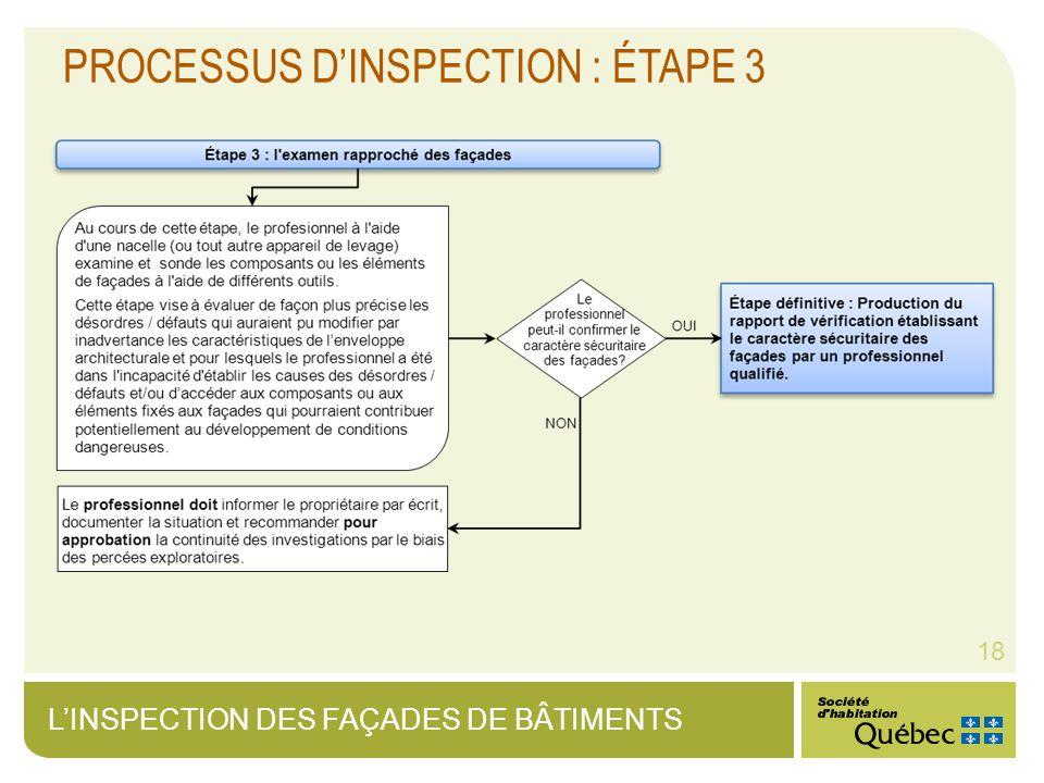 LINSPECTION DES FAÇADES DE BÂTIMENTS 18 PROCESSUS DINSPECTION : ÉTAPE 3