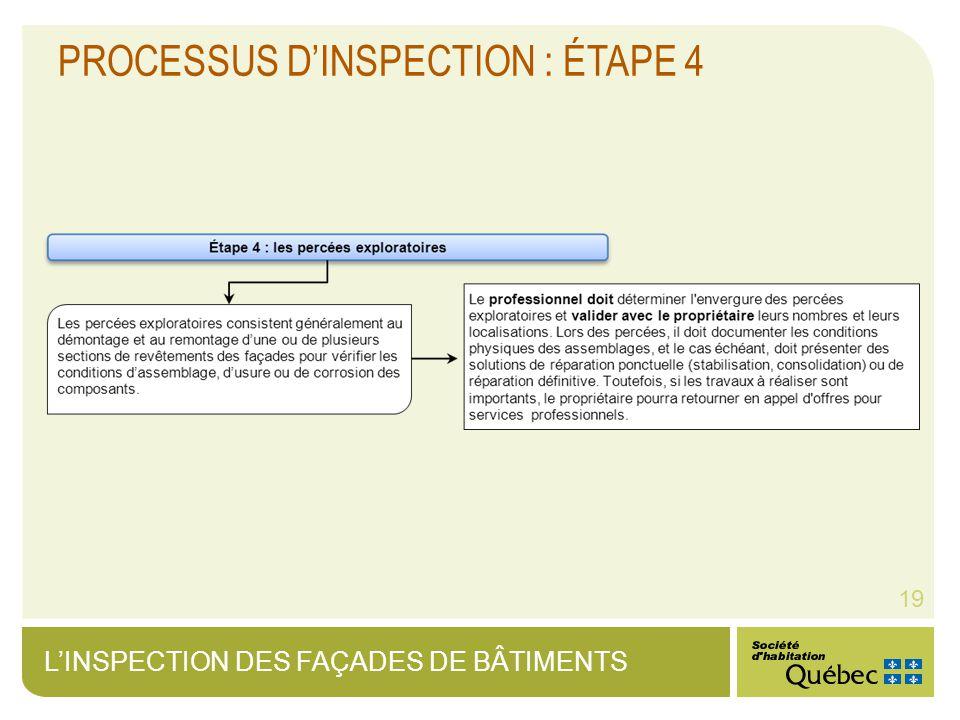 LINSPECTION DES FAÇADES DE BÂTIMENTS 19 PROCESSUS DINSPECTION : ÉTAPE 4