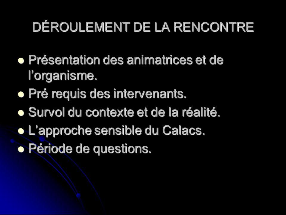 DÉROULEMENT DE LA RENCONTRE Présentation des animatrices et de lorganisme. Présentation des animatrices et de lorganisme. Pré requis des intervenants.
