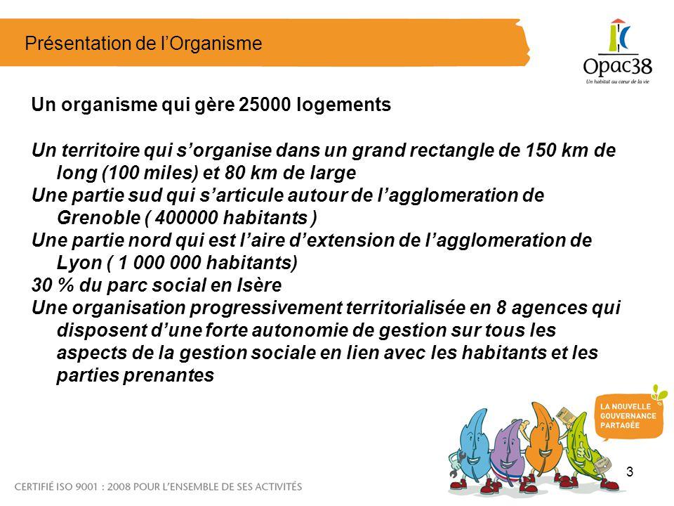 3 Présentation de lOrganisme Un organisme qui gère 25000 logements Un territoire qui sorganise dans un grand rectangle de 150 km de long (100 miles) et 80 km de large Une partie sud qui sarticule autour de lagglomeration de Grenoble ( 400000 habitants ) Une partie nord qui est laire dextension de lagglomeration de Lyon ( 1 000 000 habitants) 30 % du parc social en Isère Une organisation progressivement territorialisée en 8 agences qui disposent dune forte autonomie de gestion sur tous les aspects de la gestion sociale en lien avec les habitants et les parties prenantes