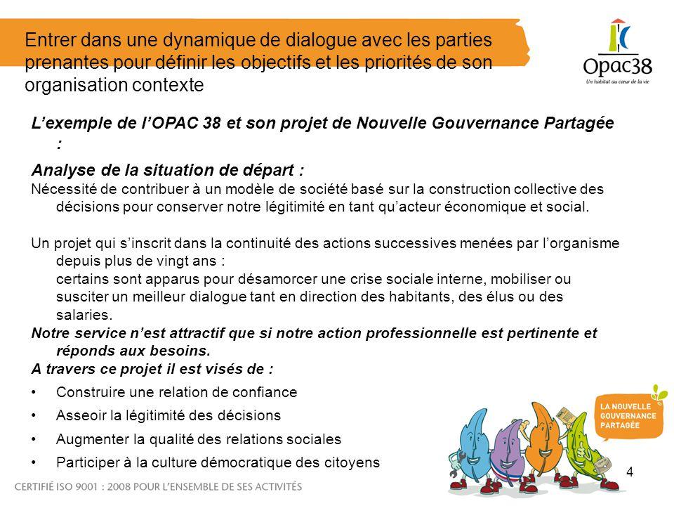 4 Entrer dans une dynamique de dialogue avec les parties prenantes pour définir les objectifs et les priorités de son organisation contexte Lexemple d