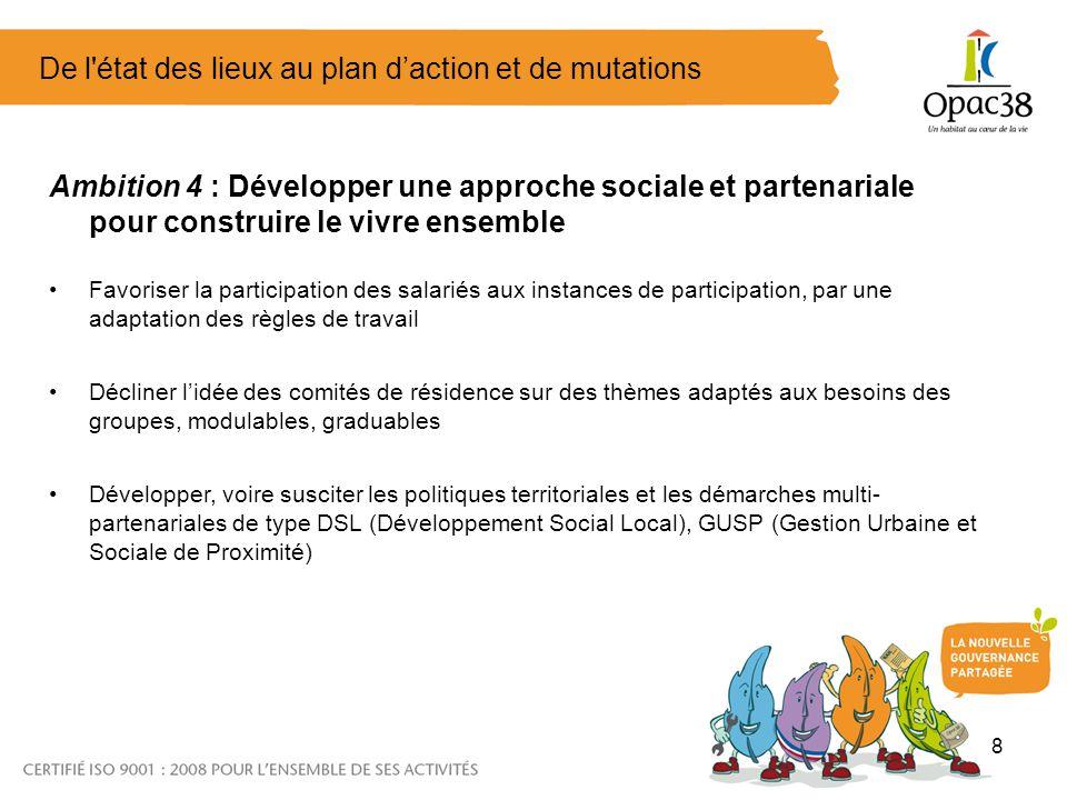 8 De l'état des lieux au plan daction et de mutations Ambition 4 : Développer une approche sociale et partenariale pour construire le vivre ensemble F