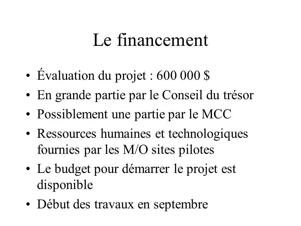Le financement Évaluation du projet : 600 000 $ En grande partie par le Conseil du trésor Possiblement une partie par le MCC Ressources humaines et technologiques fournies par les M/O sites pilotes Le budget pour démarrer le projet est disponible Début des travaux en septembre