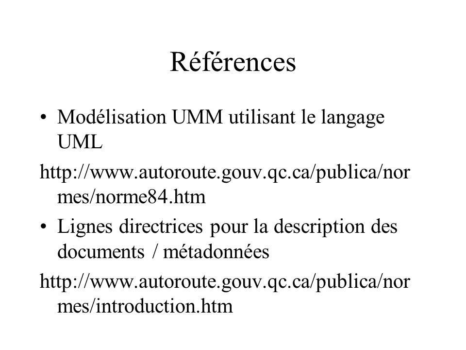 Références Modélisation UMM utilisant le langage UML http://www.autoroute.gouv.qc.ca/publica/nor mes/norme84.htm Lignes directrices pour la description des documents / métadonnées http://www.autoroute.gouv.qc.ca/publica/nor mes/introduction.htm