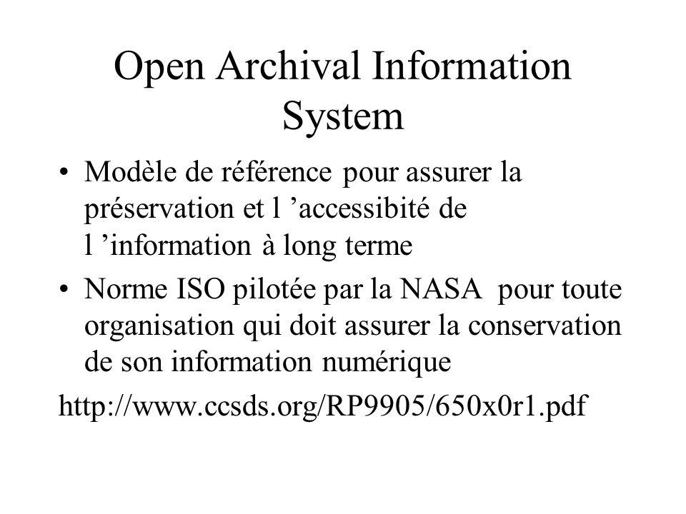 Open Archival Information System Modèle de référence pour assurer la préservation et l accessibité de l information à long terme Norme ISO pilotée par la NASA pour toute organisation qui doit assurer la conservation de son information numérique http://www.ccsds.org/RP9905/650x0r1.pdf