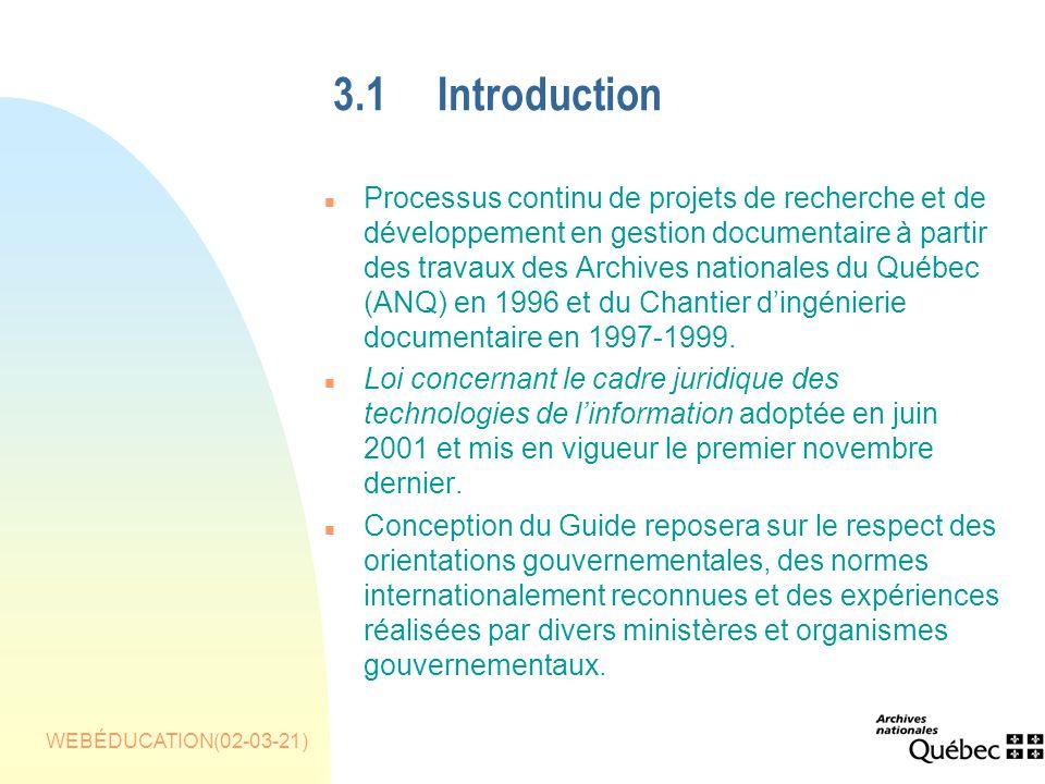 WEBÉDUCATION(02-03-21) 3.1Introduction n Processus continu de projets de recherche et de développement en gestion documentaire à partir des travaux des Archives nationales du Québec (ANQ) en 1996 et du Chantier dingénierie documentaire en 1997-1999.