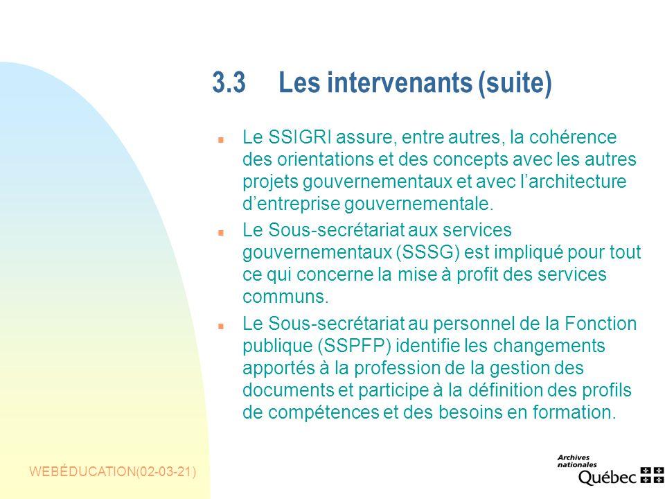 WEBÉDUCATION(02-03-21) 3.3Les intervenants(suite) n Le SSIGRI assure, entre autres, la cohérence des orientations et des concepts avec les autres projets gouvernementaux et avec larchitecture dentreprise gouvernementale.