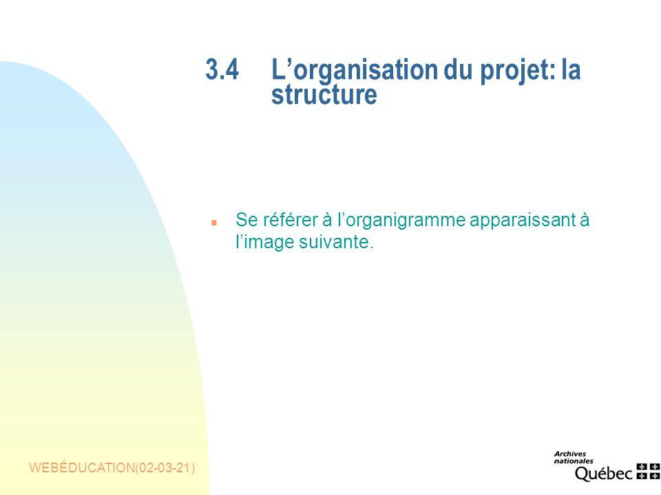 WEBÉDUCATION(02-03-21) 3.4Lorganisation du projet: la structure n Se référer à lorganigramme apparaissant à limage suivante.