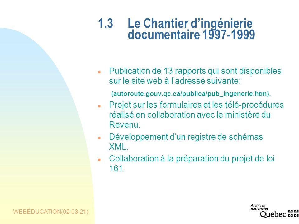 WEBÉDUCATION(02-03-21) 1.3Le Chantier dingénierie documentaire 1997-1999 n Publication de 13 rapports qui sont disponibles sur le site web à ladresse suivante: (autoroute.gouv.qc.ca/publica/pub_ingenerie.htm).