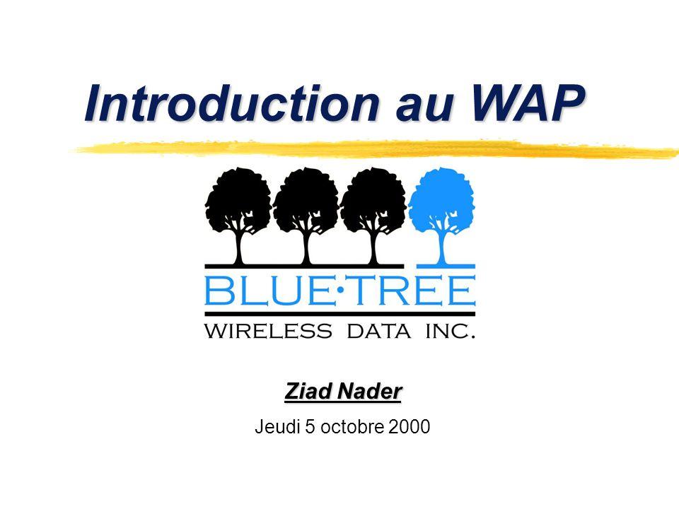 Lien intéressants zWap forum pour les standards: www.wapforum.org www.wapforum.org zNokia pour léquipement et les outils de travail: www.nokia.com www.nokia.com zApache pour configurer le serveur avec les MIMES de WAP: www.apache.orgwww.apache.org zTout sur le WAP: www.phone.comwww.phone.com