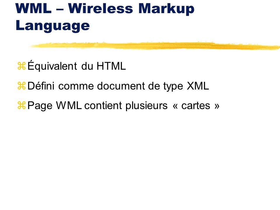 WML – Wireless Markup Language zÉquivalent du HTML zDéfini comme document de type XML zPage WML contient plusieurs « cartes »