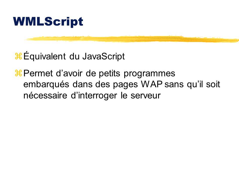 WMLScript zÉquivalent du JavaScript zPermet davoir de petits programmes embarqués dans des pages WAP sans quil soit nécessaire dinterroger le serveur