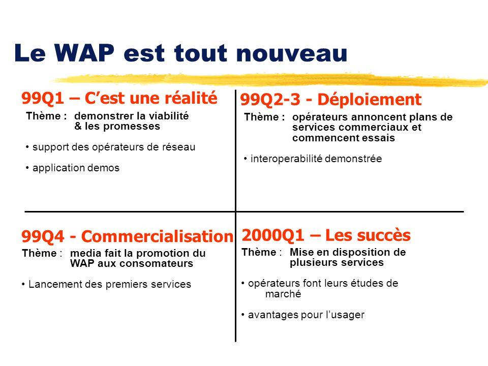 Le WAP est tout nouveau 99Q4 - Commercialisation Thème :media fait la promotion du WAP aux consomateurs Lancement des premiers services 99Q2-3 - Déplo