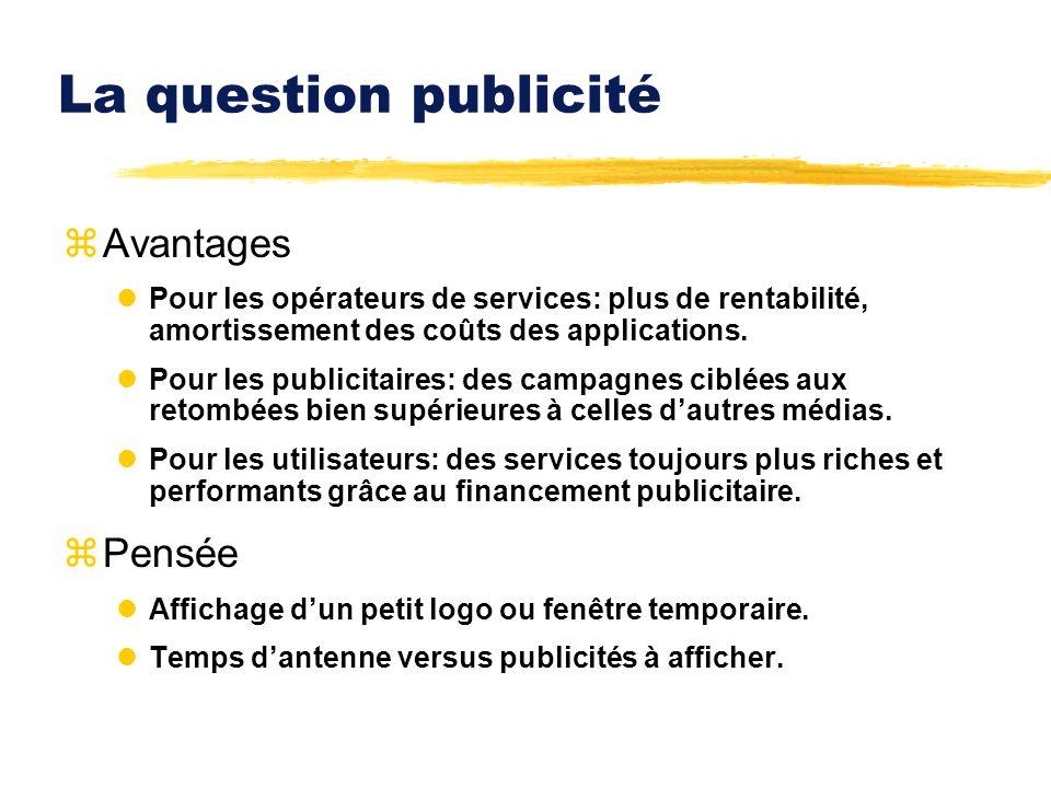 La question publicité zAvantages lPour les opérateurs de services: plus de rentabilité, amortissement des coûts des applications. lPour les publicitai