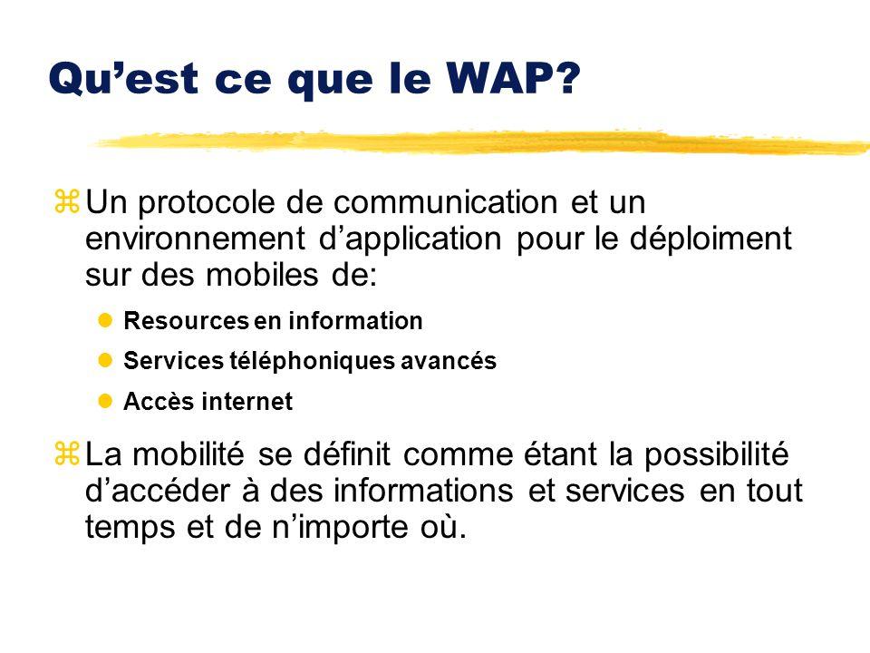 Quest ce que le WAP? zUn protocole de communication et un environnement dapplication pour le déploiment sur des mobiles de: lResources en information