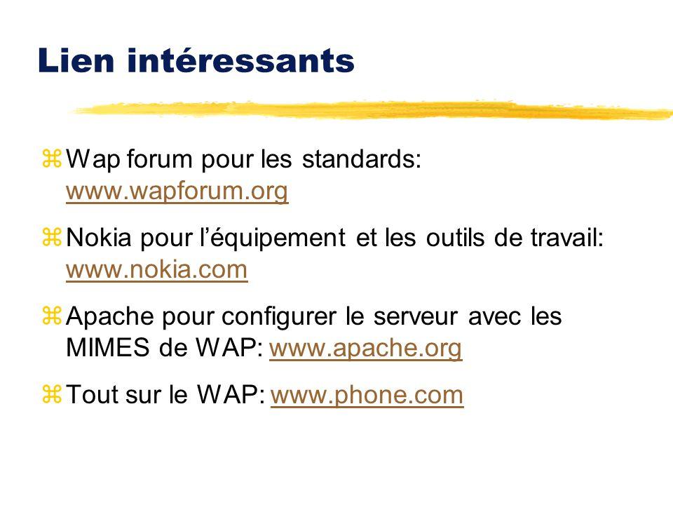Lien intéressants zWap forum pour les standards: www.wapforum.org www.wapforum.org zNokia pour léquipement et les outils de travail: www.nokia.com www