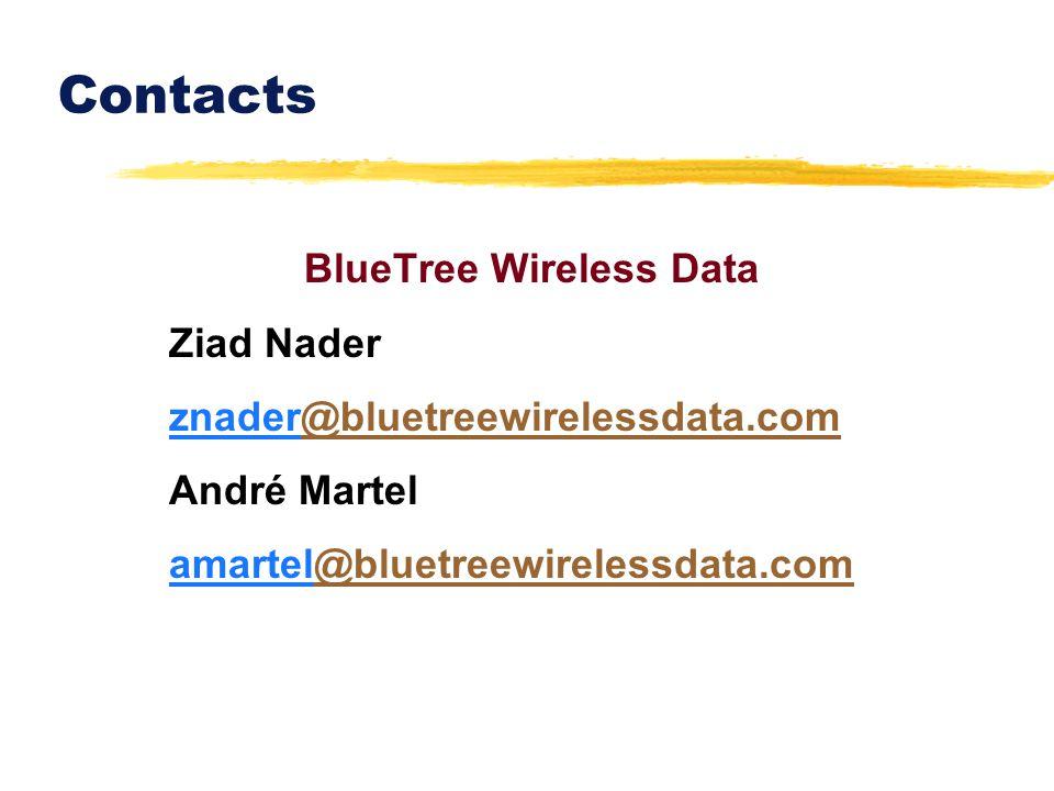 Contacts BlueTree Wireless Data Ziad Nader znader@bluetreewirelessdata.com@bluetreewirelessdata.com André Martel amartel@bluetreewirelessdata.com@blue