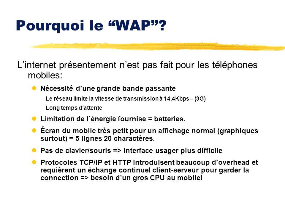 Pourquoi le WAP? Linternet présentement nest pas fait pour les téléphones mobiles: lNécessité dune grande bande passante Le réseau limite la vitesse d