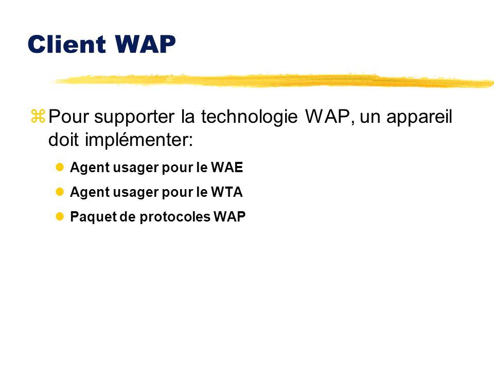 Client WAP zPour supporter la technologie WAP, un appareil doit implémenter: lAgent usager pour le WAE lAgent usager pour le WTA lPaquet de protocoles