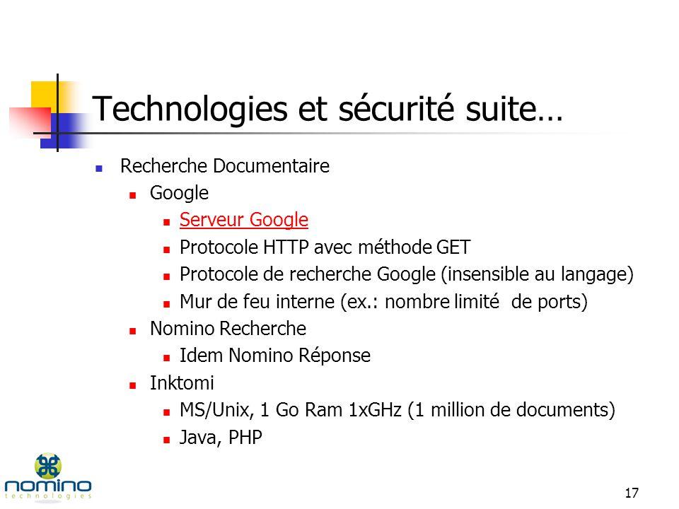 16 Technologies et sécurité Nomino Réponse Serveurs : NT2000, 1 Go Ram, MSSQL2000, IIS Poste de travail : MS98/2000/XP COM/COM+, ASP Architecture avec mur de feu (recommandé) Modèle de sécurité IIS Sécurité MSSQL Droits et privilèges dadministrateurs et dusagers Sécurité sur les bases de données