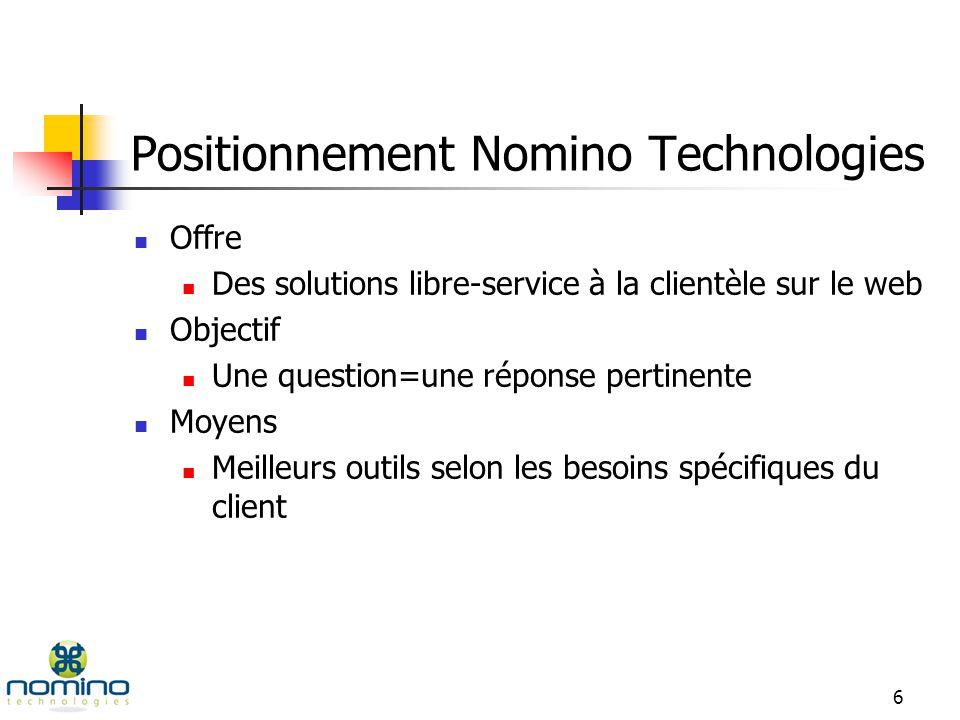 6 Positionnement Nomino Technologies Offre Des solutions libre-service à la clientèle sur le web Objectif Une question=une réponse pertinente Moyens Meilleurs outils selon les besoins spécifiques du client