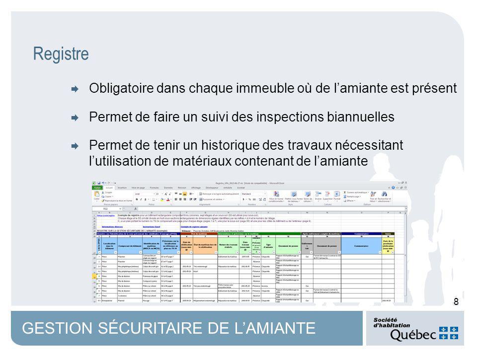 9 GESTION SÉCURITAIRE DE LAMIANTE Documents à venir de la SHQ Registre Mandat type pour expert en échantillonnage