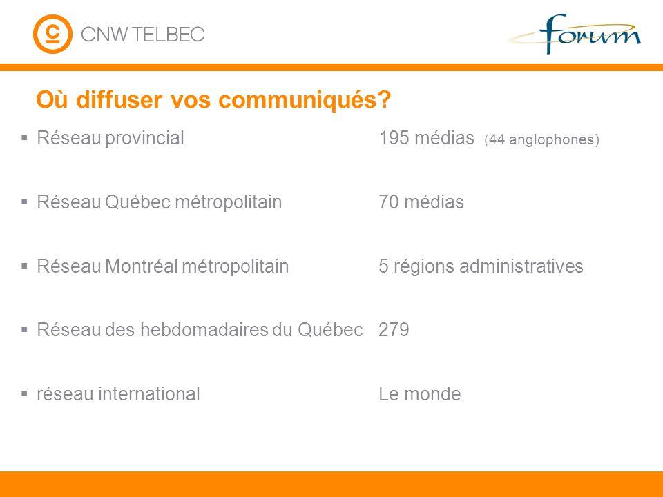 Où diffuser vos communiqués? Réseau provincial Réseau Québec métropolitain Réseau Montréal métropolitain Réseau des hebdomadaires du Québec réseau int