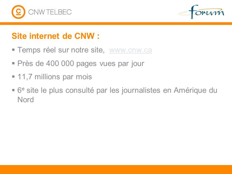 Site internet de CNW : Temps réel sur notre site, www.cnw.cawww.cnw.ca Près de 400 000 pages vues par jour 11,7 millions par mois 6 e site le plus con