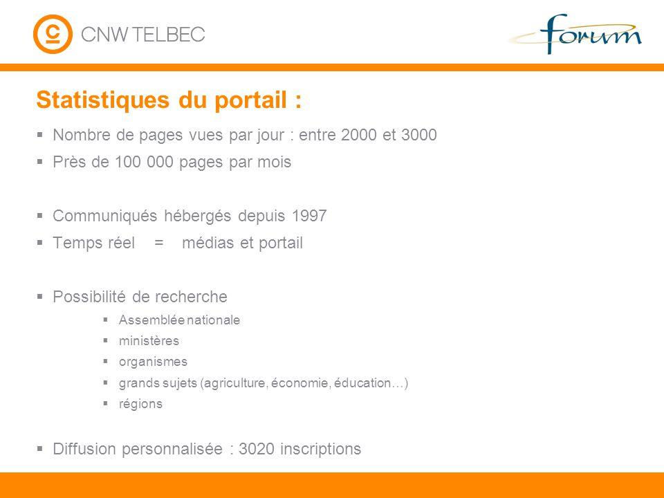 Statistiques du portail : Nombre de pages vues par jour : entre 2000 et 3000 Près de 100 000 pages par mois Communiqués hébergés depuis 1997 Temps rée